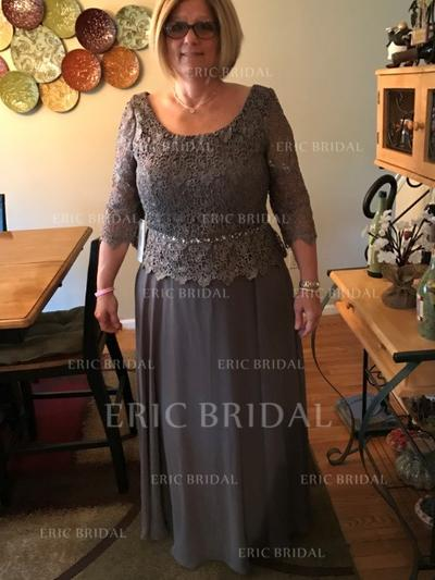 A-Line/Princess Chiffon 3/4 Sleeves Scoop Neck Floor-Length Zipper Up Mother of the Bride Dresses (008212728)