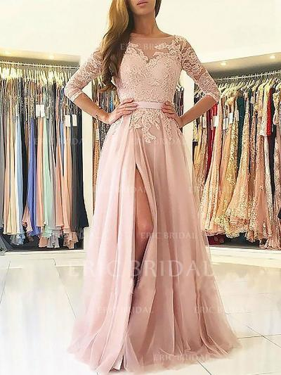 A-Line/Princess Scoop Neck Sweep Train Prom Dresses With Appliques Lace (018210926)