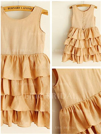 A-Line/Princess Scoop Neck Tea-length With Ruffles Chiffon Flower Girl Dresses (010212042)