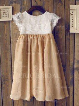 A-Line/Princess Scoop Neck Tea-length With Pleated Chiffon/Lace Flower Girl Dresses (010212030)
