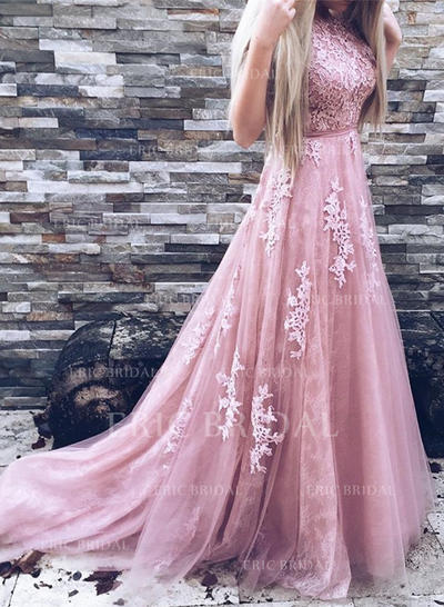 A-Line/Princess Scoop Neck Sweep Train Prom Dresses With Appliques Lace (018211012)