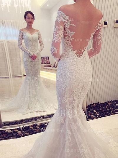 Trumpet/Mermaid Tulle Lace Long Sleeves Off-The-Shoulder Chapel Train Wedding Dresses (002144848)