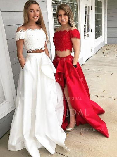 A-Line/Princess Off-the-Shoulder Sweep Train Prom Dresses With Lace (018211009)