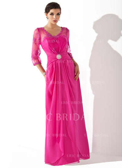 A-Line/Princess Chiffon 1/2 Sleeves V-neck Floor-Length Zipper Up Mother of the Bride Dresses (008005687)