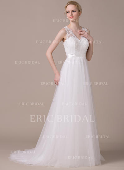 A-Line/Princess Sweetheart Sweep Train Wedding Dresses With Appliques Lace Bow(s) (002210614)