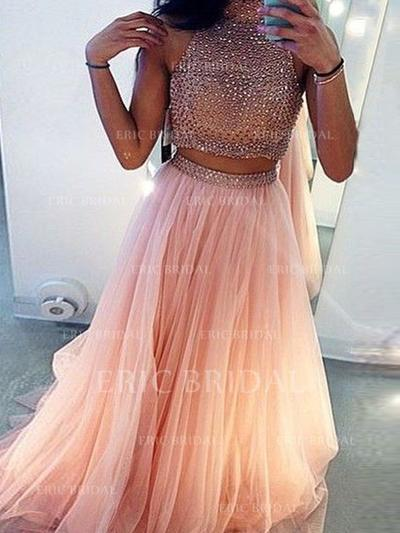 A-Line/Princess Sweep Train Prom Dresses Scoop Neck Tulle Sleeveless (018145896)