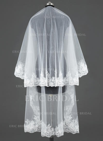 Chapel Bridal Veils Tulle One-tier Classic With Lace Applique Edge Wedding Veils (006151068)