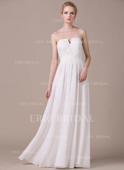 Fashion Strapless A-Line/Princess Wedding Dresses Floor-Length Chiffon Sleeveless (002210617)