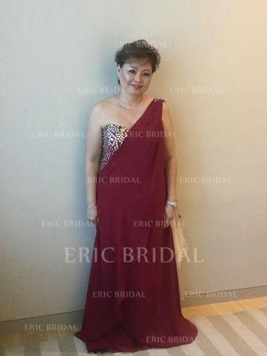 A-Line/Princess Chiffon Sleeveless One-Shoulder Sweep Train Zipper Up Mother of the Bride Dresses (008212800)