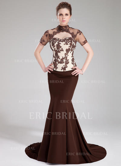 Trumpet/Mermaid High Neck Sweep Train Prom Dresses With Beading Appliques Lace Sequins (018213033)
