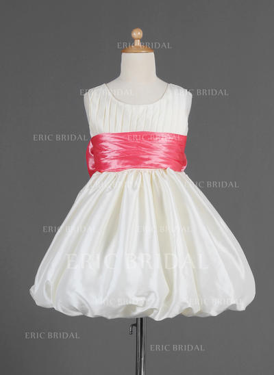 2018 New Scoop Neck Empire Flower Girl Dresses Knee-length Taffeta Sleeveless (010014665)