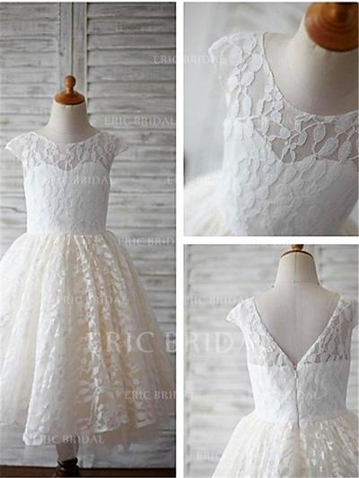 A-Line/Princess Scoop Neck Ankle-length With Pleated Lace Flower Girl Dresses (010211813)