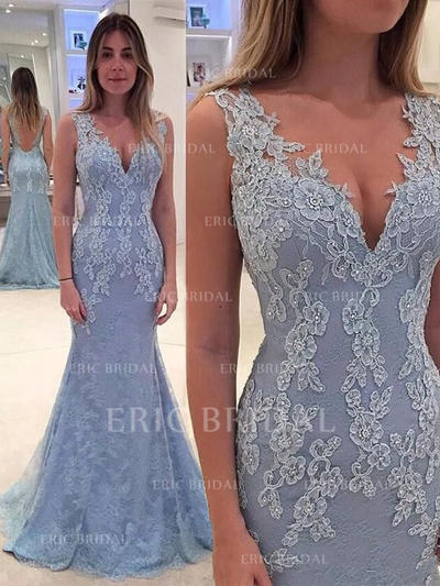 Trumpet/Mermaid Sweep Train Prom Dresses V-neck Lace Sleeveless (018145978)