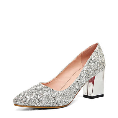 Women's Closed Toe Chunky Heel Sparkling Glitter Wedding Shoes (047208893)