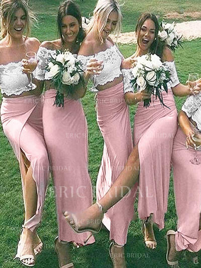 Sheath/Column Jersey Bridesmaid Dresses Off-the-Shoulder 1/2 Sleeves Floor-Length (007211704)