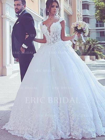 Ball-Gown V-neck Sweep Train Wedding Dresses With Lace (002217897)