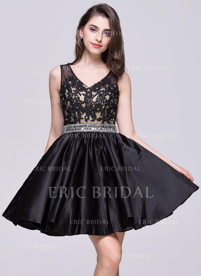 A-Line/Princess V-neck Short/Mini Satin Homecoming Dresses With Beading Appliques Lace Sequins (022214047)