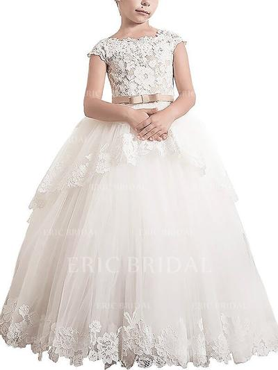 Ball Gown Scoop Neck Floor-length With Sash/Appliques Tulle Flower Girl Dresses (010211755)