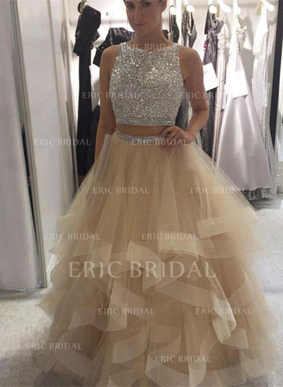 Ball-Gown Scoop Neck Floor-Length Prom Dresses With Ruffle (018212135)