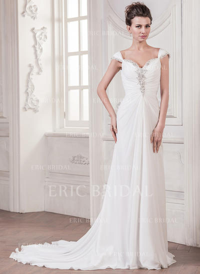 A-Line/Princess Sweetheart Court Train Wedding Dresses With Ruffle Beading Sequins (002210611)
