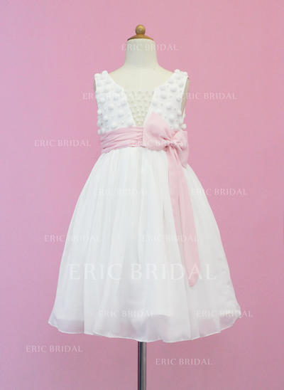Chic Scoop Neck A-Line/Princess Flower Girl Dresses Tea-length Chiffon/Tulle Sleeveless (010005339)