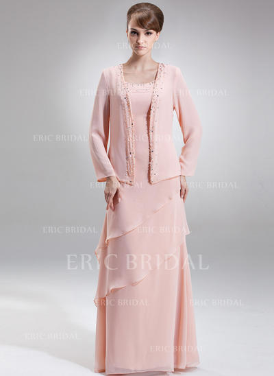 A-Line/Princess Chiffon Sleeveless Scoop Neck Floor-Length Zipper Up Mother of the Bride Dresses (008211034)