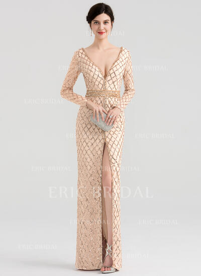 Sheath/Column V-neck Floor-Length Sequined Evening Dress With Beading (017147964)