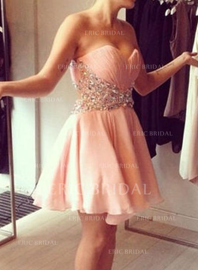 A-Line/Princess Sweetheart Short/Mini Homecoming Dresses With Sequins (022212283)