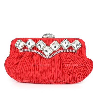 Clutches Wedding/Ceremony & Party Silk Clip Closure Charming Clutches & Evening Bags (012185205)