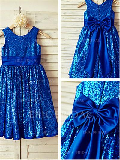 A-Line/Princess Scoop Neck Tea-length With Bow(s)/Pleated Sequined Flower Girl Dresses (010211977)