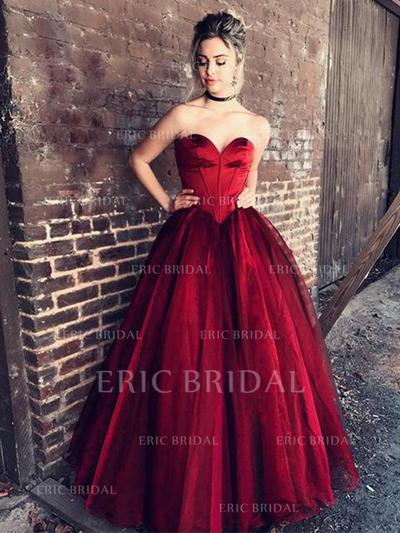Ball-Gown Sweetheart Floor-Length Evening Dresses With Ruffle (017212116)