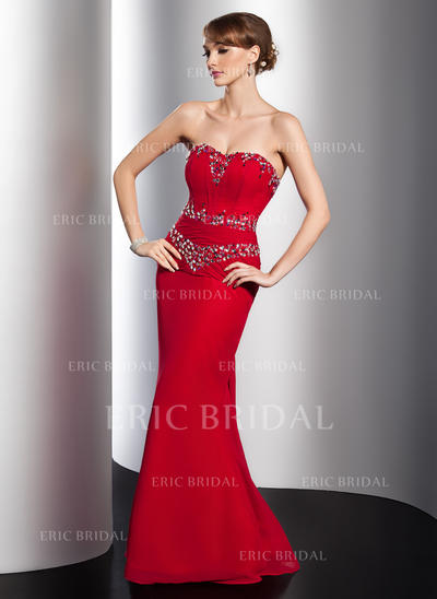 Trumpet/Mermaid Sweetheart Watteau Train Evening Dresses With Ruffle Beading (017014779)