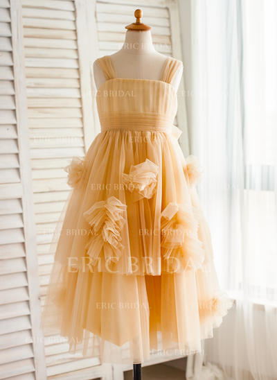 A-Line/Princess Straps Knee-length With Ruffles/Bow(s)/Pleated Tulle Flower Girl Dresses (010212161)