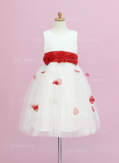Luxurious Scoop Neck A-Line/Princess Flower Girl Dresses Ankle-length Organza/Satin/Tulle Sleeveless (010005345)