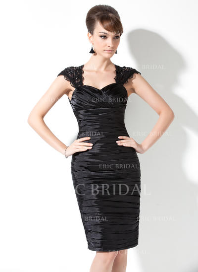 Sheath/Column Sweetheart Knee-Length Mother of the Bride Dresses With Ruffle Lace Beading (008211228)