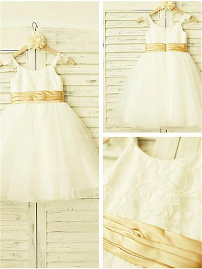A-Line/Princess Straps Knee-length With Lace Tulle Flower Girl Dresses (010211997)