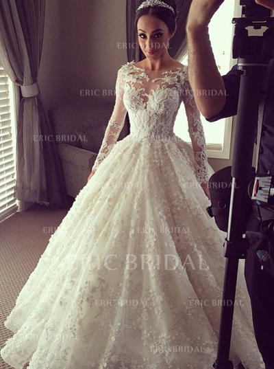 Ball-Gown Lace Long Sleeves Scoop Chapel Train Wedding Dresses (002144873)
