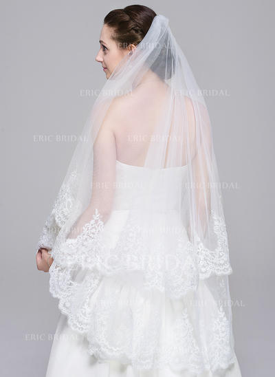 Waltz Bridal Veils Tulle One-tier Classic With Lace Applique Edge Wedding Veils (006151849)