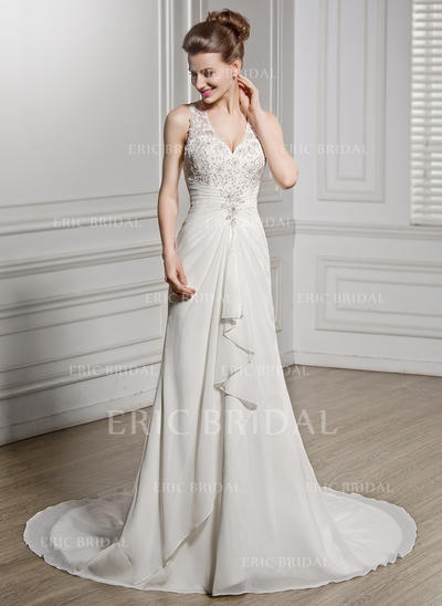 A-Line/Princess Sweetheart Chapel Train Wedding Dresses With Beading Appliques Lace Sequins Cascading Ruffles (002211517)