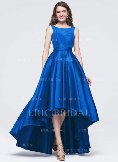 A-Line/Princess Scoop Neck Asymmetrical Prom Dresses With Bow(s) (018089694)