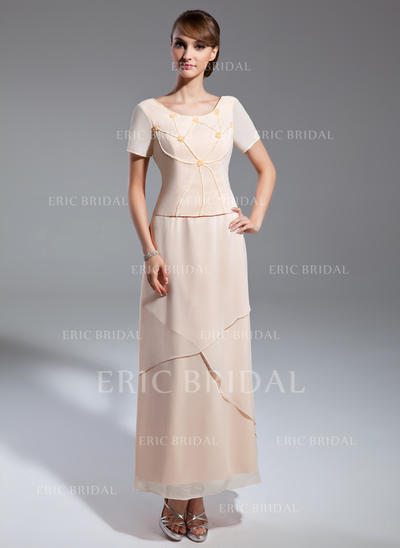 A-Line/Princess Chiffon Short Sleeves Scoop Neck Ankle-Length Zipper Up Mother of the Bride Dresses (008211381)