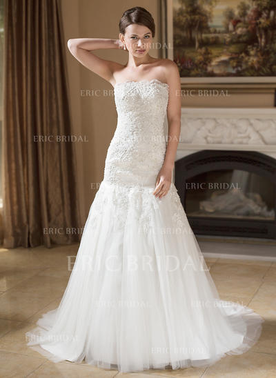 Trumpet/Mermaid Tulle Sleeveless Strapless Court Train Wedding Dresses (002004148)