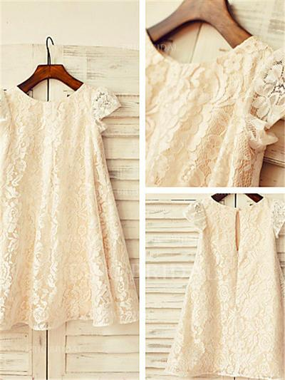 A-Line/Princess Scoop Neck Tea-length With Pleated Lace Flower Girl Dresses (010211911)