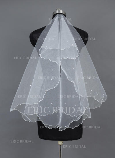 Fingertip Bridal Veils Tulle One-tier Classic With Scalloped Edge Wedding Veils (006151540)