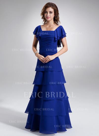 A-Line/Princess Chiffon Short Sleeves Square Neckline Floor-Length Zipper Up Mother of the Bride Dresses (008211426)
