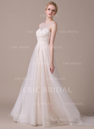 Fashion Scoop A-Line/Princess Wedding Dresses Court Train Tulle Sleeveless (002210606)