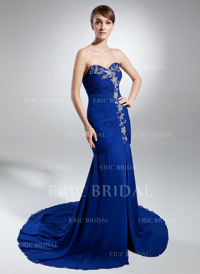Trumpet/Mermaid Sweetheart Chapel Train Evening Dresses With Ruffle Beading Split Front (017015317)