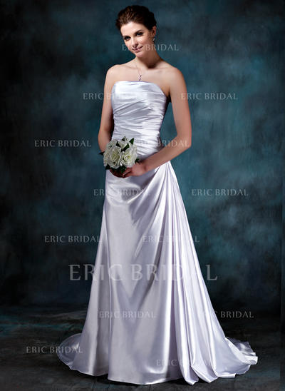 Magnificent Strapless A-Line/Princess Wedding Dresses Sweep Train Charmeuse Sleeveless (002210414)