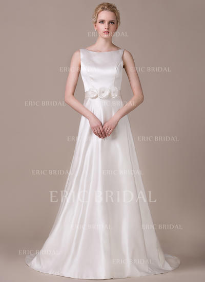 Modern Scoop A-Line/Princess Wedding Dresses Court Train Satin Sleeveless (002210619)