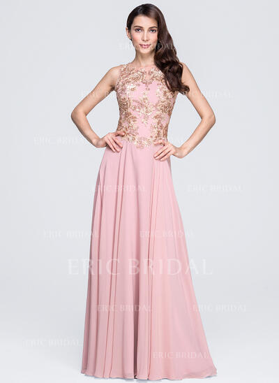 A-Line/Princess Scoop Neck Floor-Length Chiffon Evening Dress With Appliques Lace Sequins (017071589)